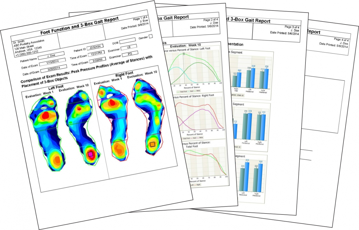 FootMat Software for Clinicians generates comprehensive reports.