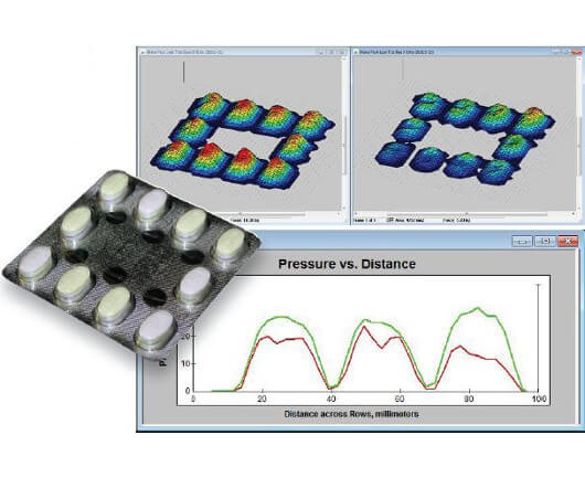 3D display of the pressure output from a pill blister pack. Image on right shows uneven pressure within the blisters, due to a poor seal.