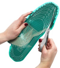 The unique sensor design allows the sensor to be trimmed to fit nearly any shoe.