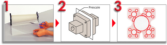 1. Cut Prescale Film to desired dimensions 2. Insert film and apply pressure 3. Remove Prescale and check density