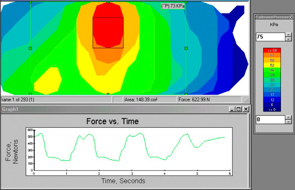 F-Socket Software provides information on peak pressures, force vs. time graphs and center of force (CoF).