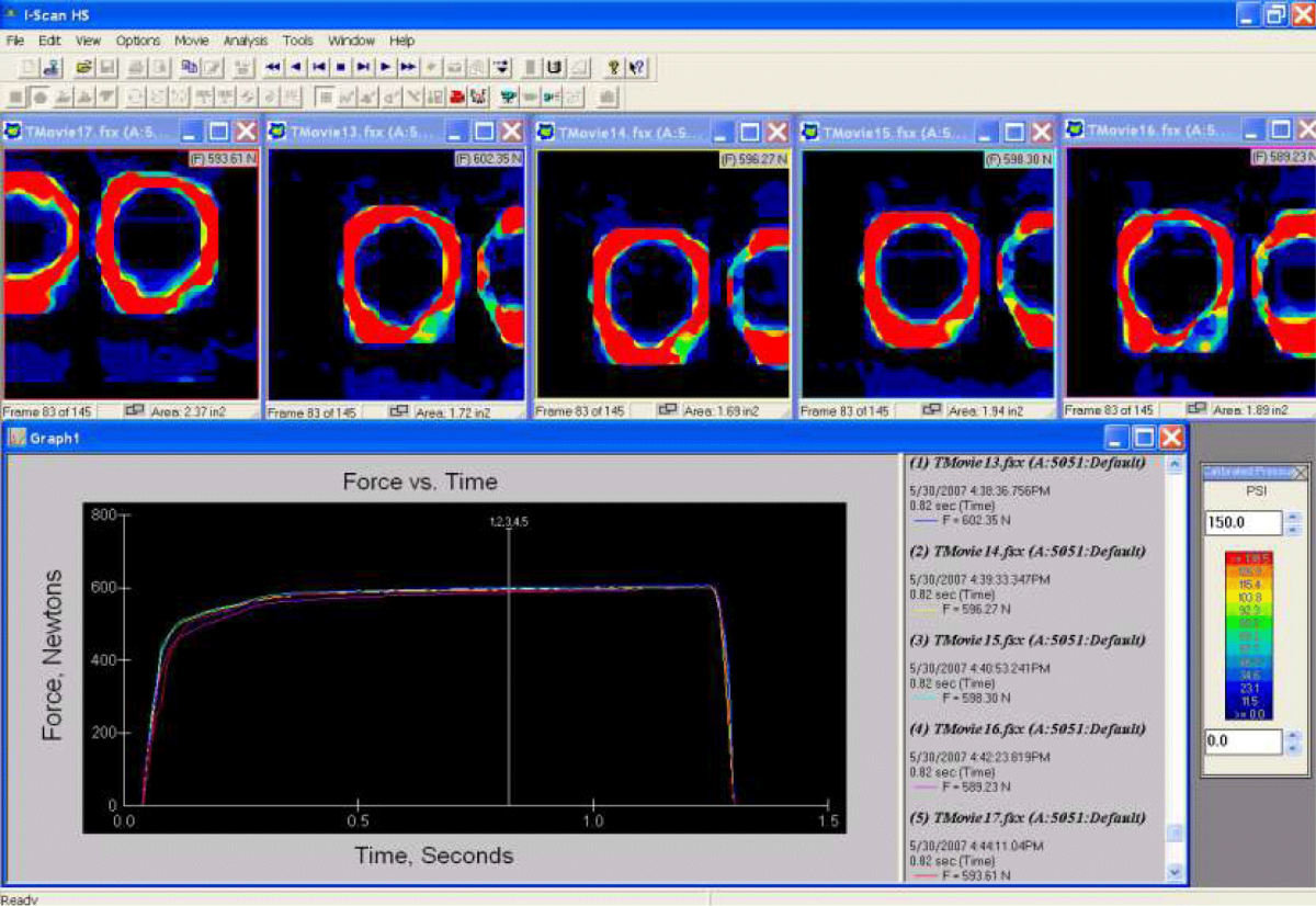 Pressure mapping data from contact lens assembly application.