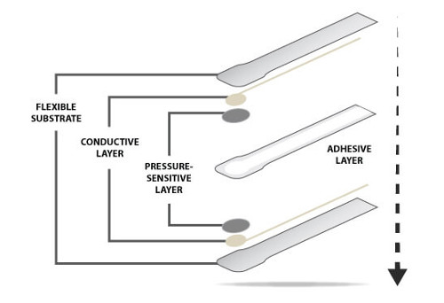 The components of a FlexiForce sensor.