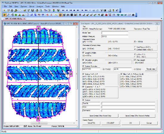 Detailed tire tread analysis software